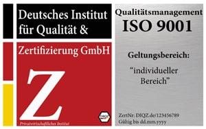 DIQZ Prüfzeichen und Prüfsiegel für die Zertifizierung ISO 9001