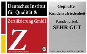 DIQZ Prüfzeichen für die Zertifizierung Geprüfte Kundenzufriedenheit, Siegel Service Tested