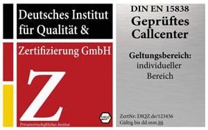 DIQZ-Prüfzeichen Zertifizierung Geprüftes Callcenter