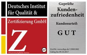 Zertifizierung Geprüfte Kundenzufriedenheit, Deutsches Institut für Qualität & Zertifizierung
