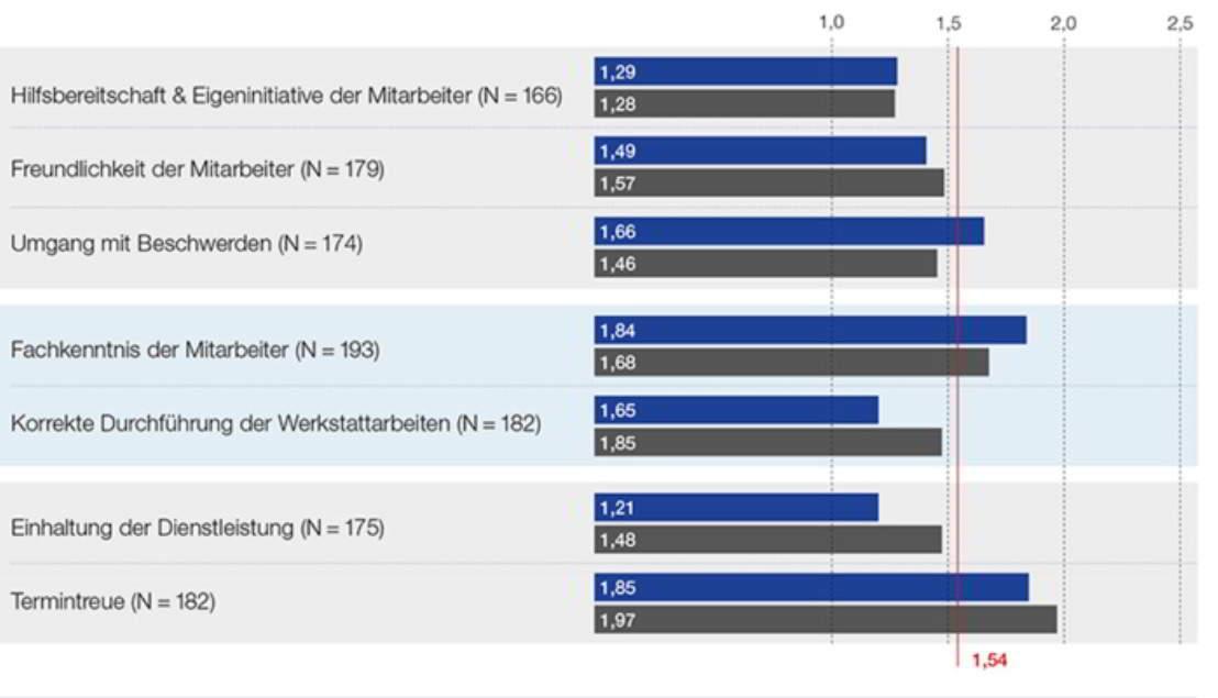 DIQZ-Kundenzufiedenheitsanalyse-Balkendiagramm