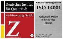 DIQZ Prüfzeichen DIN EN ISO 14001, zertifiziertes Umweltmanagementsystem