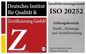 DIQZ-Prüfzeichen ISO 20252, Zertifizierung für Marktforschung und Meinungsforschung, Siegel ISO 20252